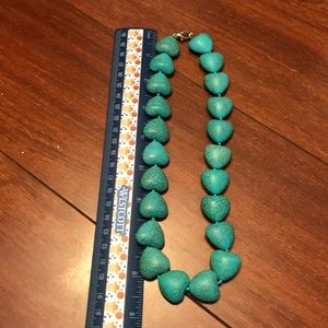 """turquoise Jewelry - Turquoise heart strand necklace 17"""""""